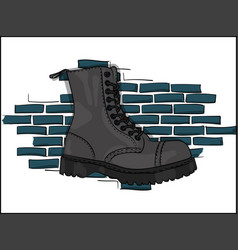 gray boots on a rough soles on a lacing against a vector image