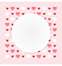Greeting card with hearts on a pink vector image