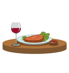 Grilled steak and a glass wine vector