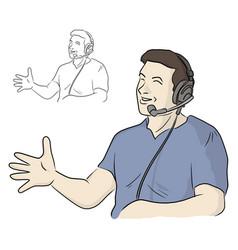 Half length smiling man with headphone vector