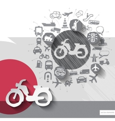 Hand drawn bike icons with icons background vector image