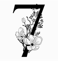 Hand drawn floral number seven monogram and vector