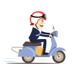 happy businessman wearing suit riding scooter vector image