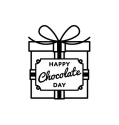 happy chocolate day greeting emblem vector image
