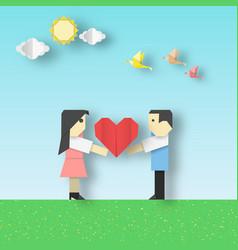 Happy love origami scene vector