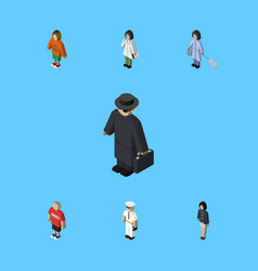 isometric human set of doctor guy girl and other vector image