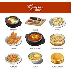korean cuisine traditional dishes flat icons vector image vector image