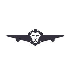 Lion plane silhouette logo design vector