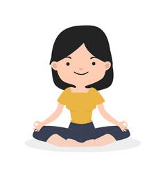 little girl meditating in flat design vector image