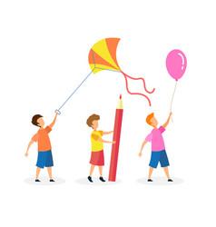 Little joyful children cartoon characters set vector