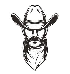 Man head in cowboy hat concept vector