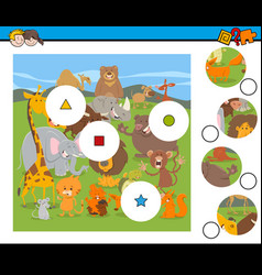 Match pieces game with cartoon wild animals vector