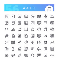 Math line icons set vector