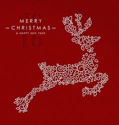 merry christmas happy new year outline deer deco vector image