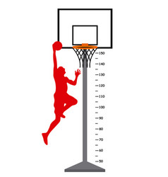 Meter basketball basket with player vector