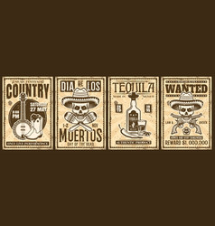 Mexico and wild west thematic set four vector