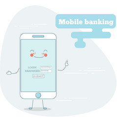Mobile banking concept in line art style vector