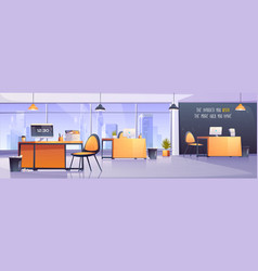 Modern office interior business workplace vector