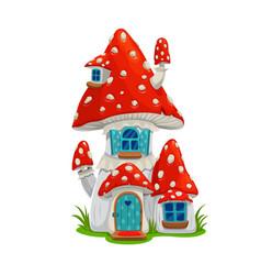 Mushroom fairy house dwelling elf or gnome vector
