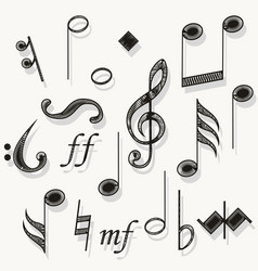 music notes musical notation muzician staff vector image