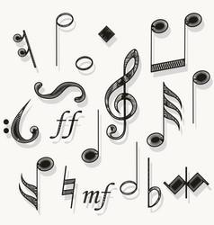 music notes musical notation muzician staff vector image