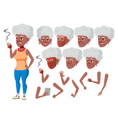 old woman black afro americansenior vector image