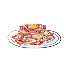 Pasta with bacon isolated icon vector