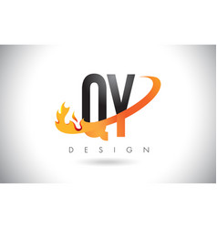 qy q y letter logo with fire flames design and vector image