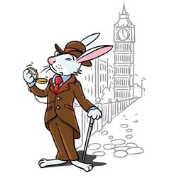 Rabbit in costume a gentleman near big ben vector