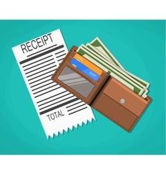 Receipt money cash with dollar banknotes vector