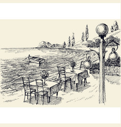 restaurant terrace on beach hand drawing vector image