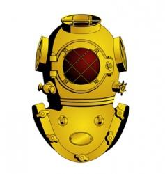 Retro diving helmet vector