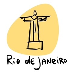 Rio de janeiro brazil statue christ vector