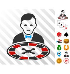 Roulette dealer icon with bonus vector