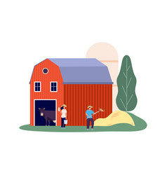 rural farm animals shed dairy products flat vector image