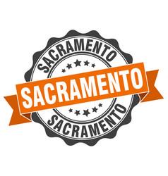 sacramento round ribbon seal vector image