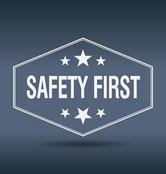 Safety first hexagonal white vintage retro style vector