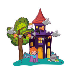 Scary castle with boy vampire and halloween vector