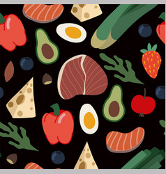 Seamless pattern with healthy food such as meal vector