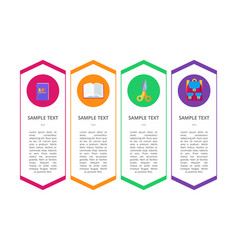 set banners with round buttons containing objects vector image vector image
