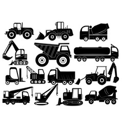 set construction equipment collection vector image