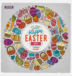 set easter cartoon doodle objects vector image