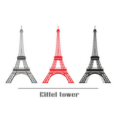 Set eiffel tower vector