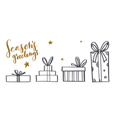 set hand drawn gift boxes doodle style vector image