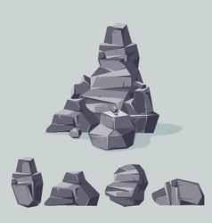 Set mountain gray rocks cartoon isometric 3d vector