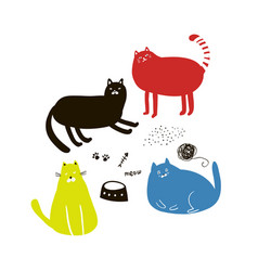 set of cute colorful cats in doodle style vector image