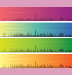shenyang multiple color gradient skyline banner vector image
