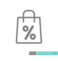 shopping bag with percent symbol icon vector image