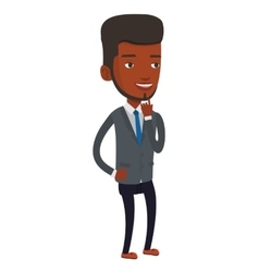 Smiling businessman having business idea vector