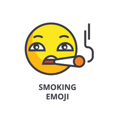 smoking emoji line icon sign vector image